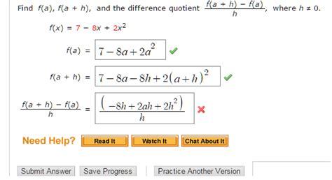 algebra precalculus find f a f a h and the
