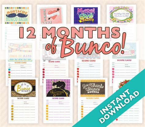 bunco themes bunco themes bunco ideas and bunco party more than 20 off 12 months of bunco 12 theme bunco score