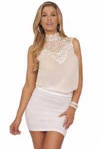 high collar v neck lace sleeveless chiffon dressy keyhole back blouse top