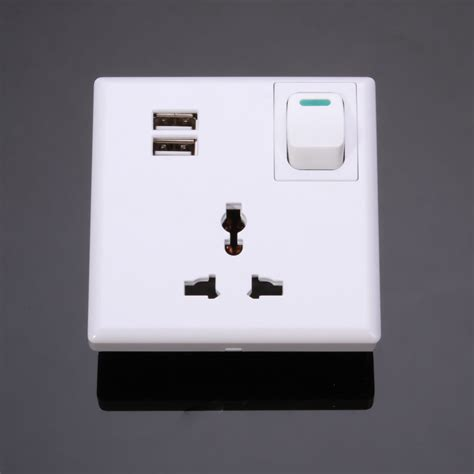 l with power outlet 2 usb port wall outlet charger plate ac power adapter