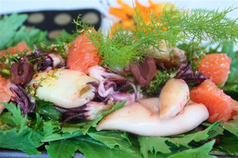 fried calamari salad order online mediterranean 187 grilled calamari with a pink grapefruit and wild fennel