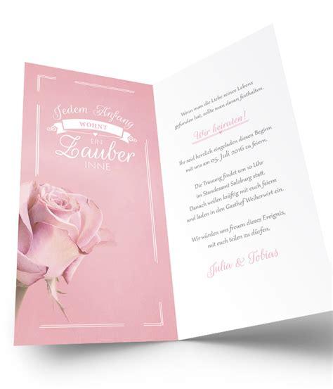 Hochzeitseinladungen Rosa by Hochzeitseinladung Dezente