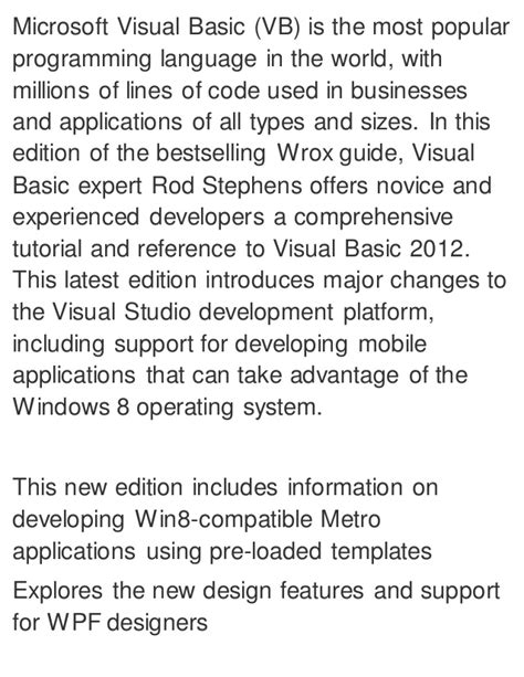 reference book for visual basic visual basic 2012 programmer s reference 1st edition pdf