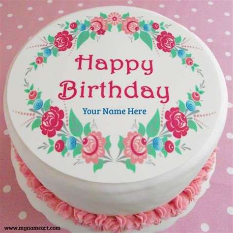 Birthday Cake Pic by Happy Birthday Flower Cake With Name Image Wishes