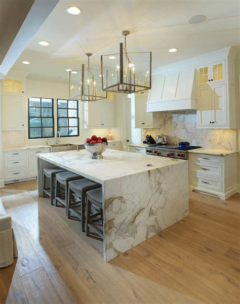 marble island kitchen marble waterfall island transitional kitchen lori