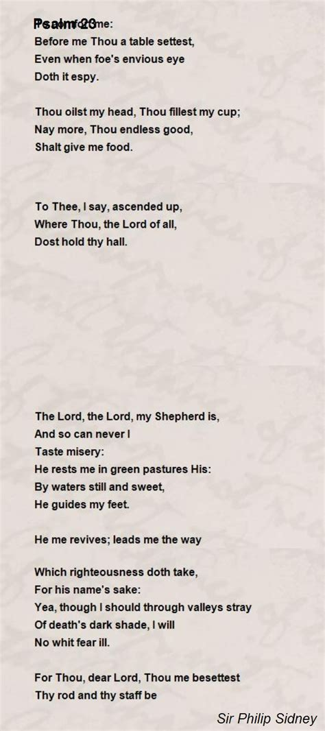 sonnet 122 thy gift thy tables are within my brain poem psalm 23 poem by sir philip sidney poem