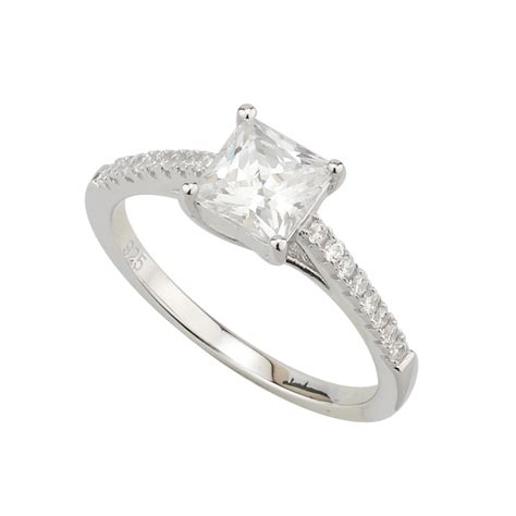 sterling silver princess cut cubic zirconia ring