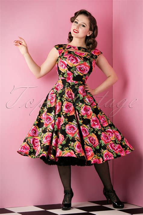 50s swing 50s selma floral swing dress in black