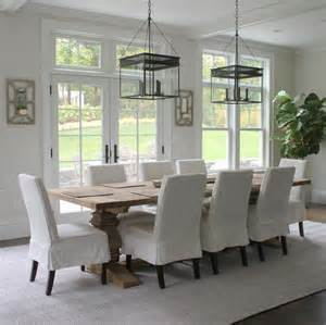 French Lantern Chandelier Reclaimed Wood Trestle Dining Table Transitional