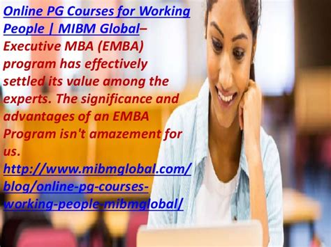 Pg Mba Course by Emba Program Pg Courses For Working For The