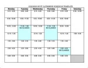 College Schedule Template college schedule templates 12 free word excel pdf