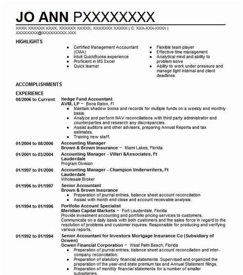 Hedge Fund Accountant Resume Sle Accountant Resumes Livecareer Hedge Fund Resume Template