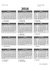 Guyana Kalendar 2018 2016 Excel Yearly Calendar 05 Free Printable Templates