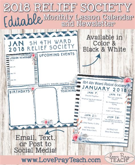 January 2018 Relief Society Newsletter And Lesson Calendar Love Pray Teach Relief Society Newsletter Template Free