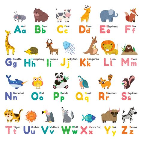 stickers alphabet animals from u to z stock vector colourful animal alphabet wall stickers