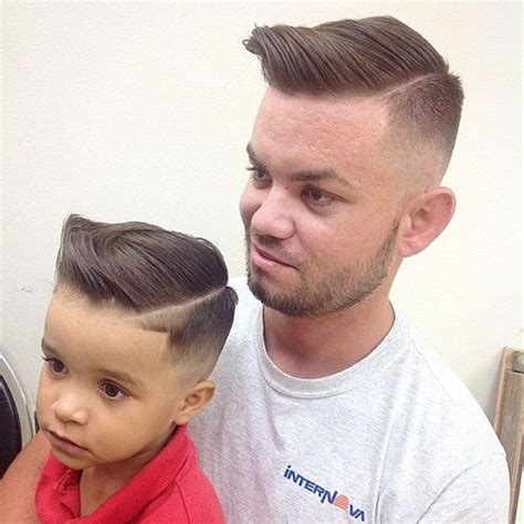 father oif teenager cut hair to look like george jefferson dad and son haircuts with quiffs kids haircut