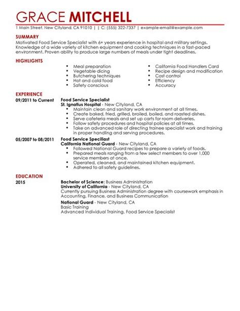 resume sles for food service worker simple food service specialist resume exle livecareer