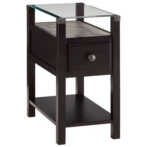 signature design  ashley diamenton  black chair side  table  glass top  faux