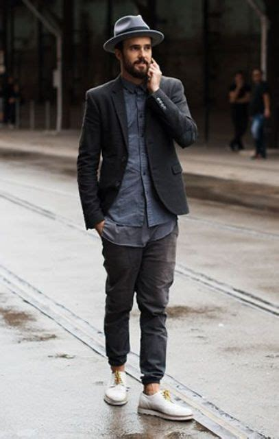 Wow Sepatu Casual Piero Jogger Denim Navy White P20061 picture of with blue shirt jacket hat and white shoes