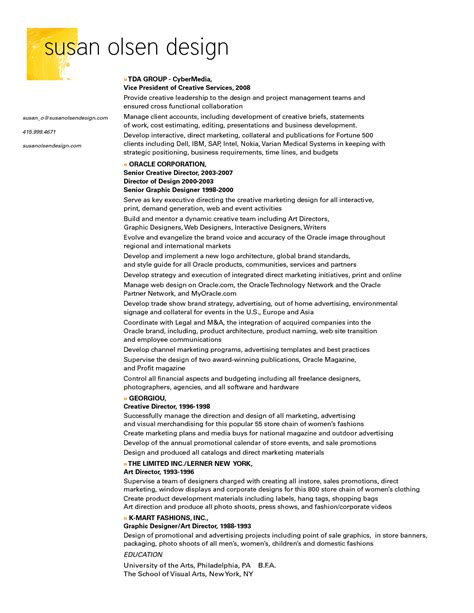 resume sle layout graphic design description graphic designer