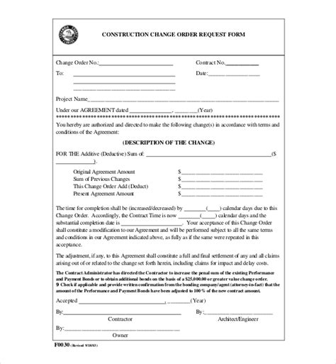 Change Order Form Template Business Change Order Document Template
