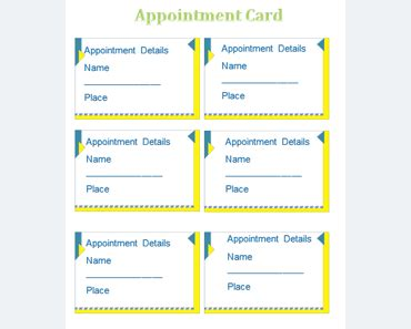 appointment card template templates  microsoft word