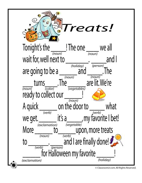 free printable activity sheets for halloween halloween mad libs halloween mad libs treats
