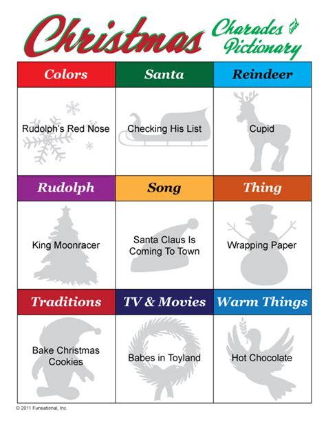 printable christmas charades christmas pictionary charades print pinterest