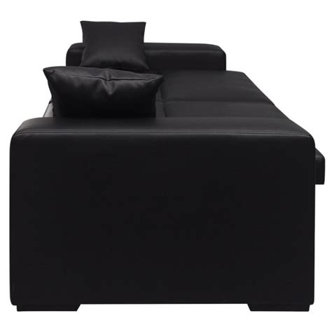 throw pillows on leather sofa faux leather sofa bed w 2 throw pillows in black buy sofa beds