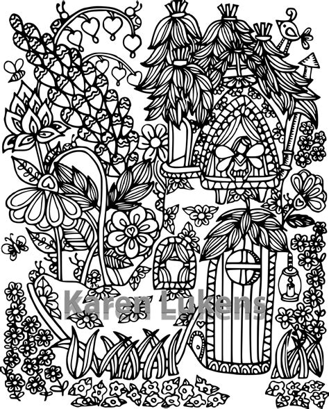 printable fairy house happyville fairy house 2 1 adult coloring book page
