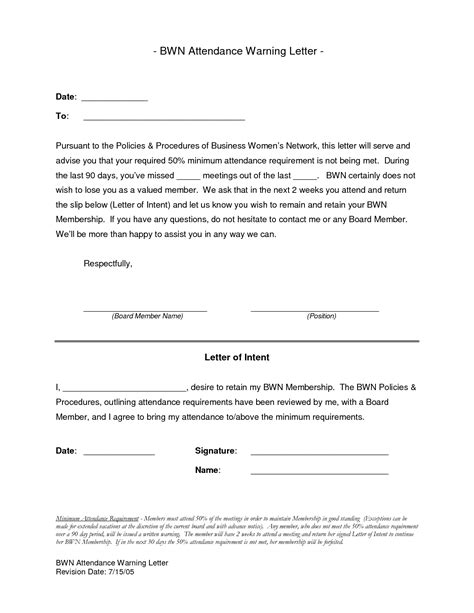 Sle Of A Warning Letter For Absent Hd Desktop Letters And Letter Sle On Pinterestabsence Written Warning Template Attendance