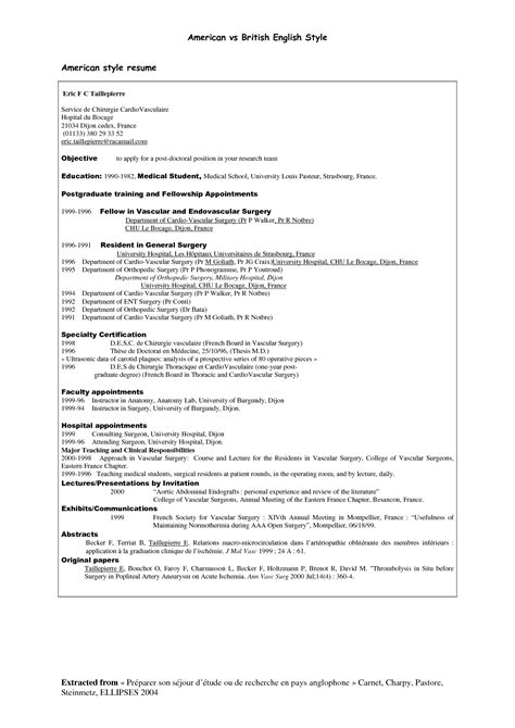 curriculum vitae american style 5 different resumes cv without work experience sle