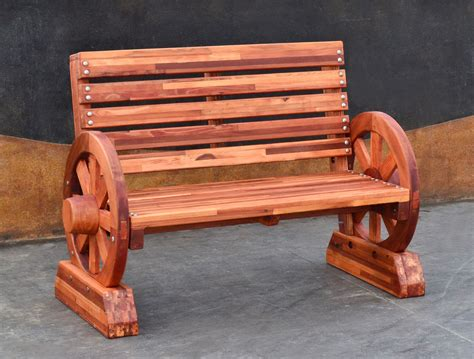 wheel bench redwood wagon wheel bench custom redwood seating