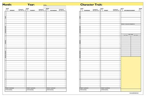 Primary Classroom Companion Middle School Student Planner Template