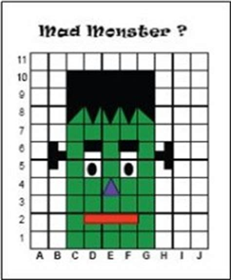 halloween grid coloring pages mathwire mad monster