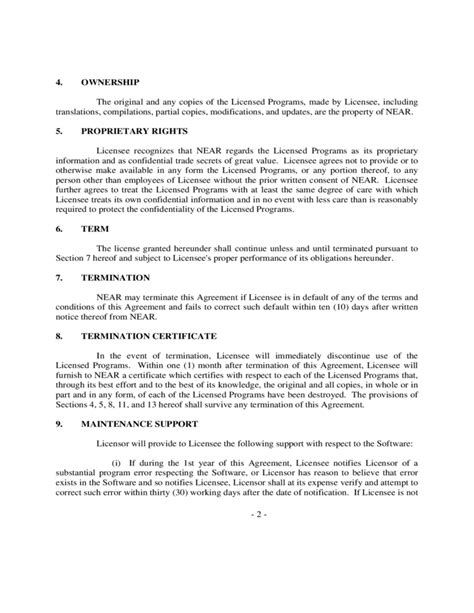 software licence agreement template sle software license agreement free
