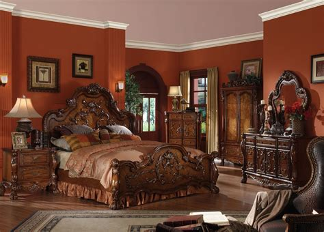 dresden gold antique queen 5 pc bedroom set traditional style formal queen bedroom collection cherry finish dresden 5