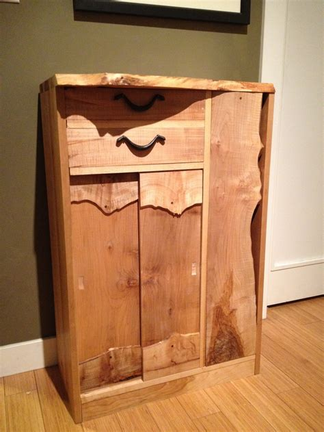 Entryway Cabinet Made With Solid Wood Including Live Edge Hallway Cabinet Doors