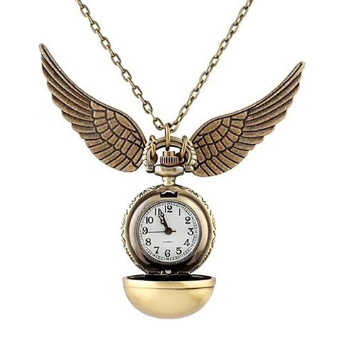 Clock Necklace harry potter golden snitch necklace quidditch pocket
