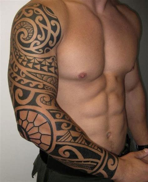 tribal tattoos full arm 3 4 sleeve