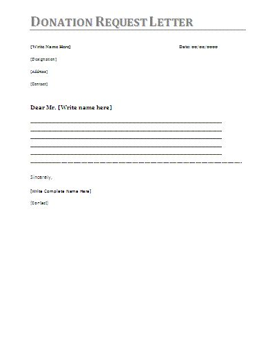 letter of application letter template request for donation