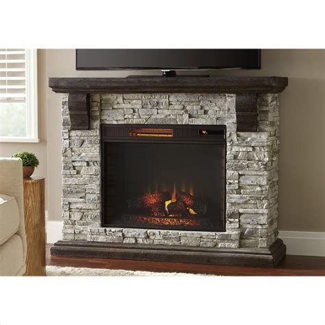highland 50 in faux stone mantel electric fireplace in