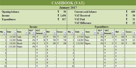 exiucu biz analysed cash book template
