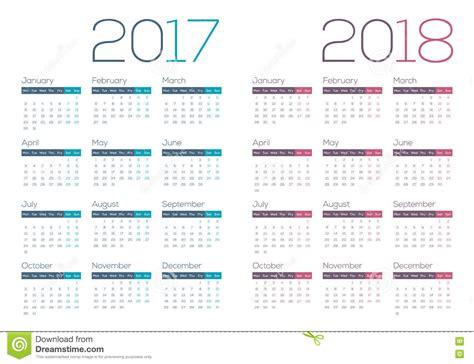 Business Calendar 2017 2018 Modern And Clean Business Calendar Stock Vector
