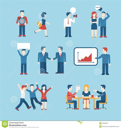 layout man jobs people icons business man situation web template icon set