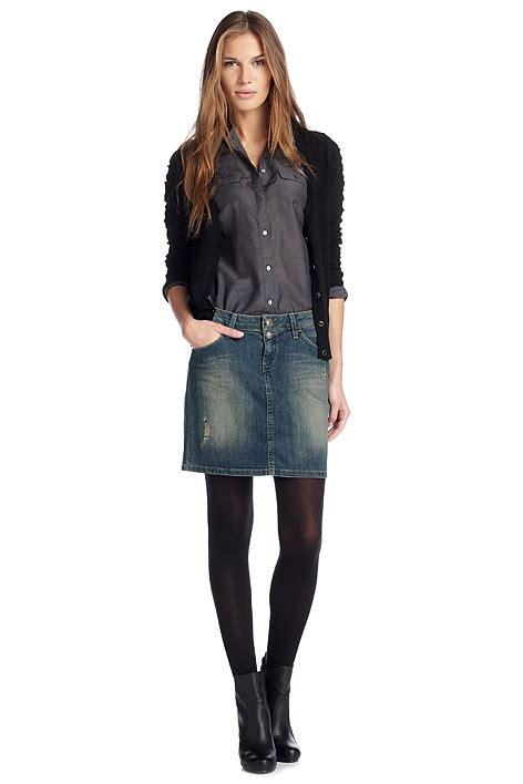 denim skirt ankle boots cloths
