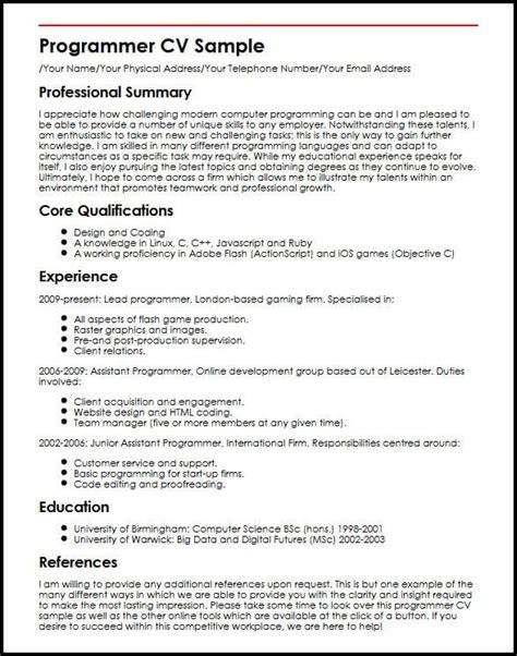 Programmer Cv Sle Curriculum Builder Programmer Resume Template