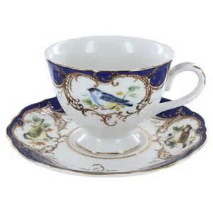 royal blue bird porcelain teacup and saucer set