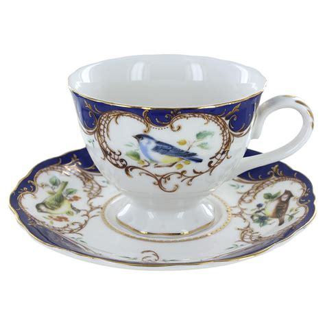 Tea Cup by Royal Blue Bird Porcelain Teacup And Saucer Set