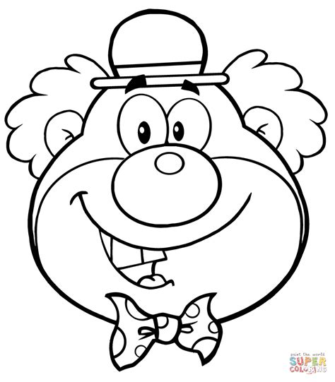 funny clown head coloring page free printable coloring pages